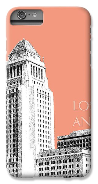 Los Angeles Skyline City Hall - Salmon IPhone 6 Plus Case by DB Artist