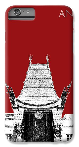 Los Angeles Skyline Graumans Chinese Theater - Dark Red IPhone 6 Plus Case by DB Artist