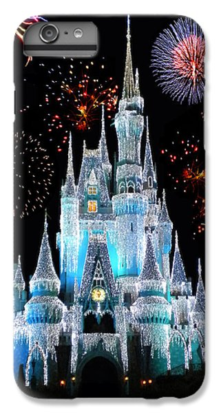 Magic Kingdom Castle In Frosty Light Blue With Fireworks 06 IPhone 6 Plus Case by Thomas Woolworth