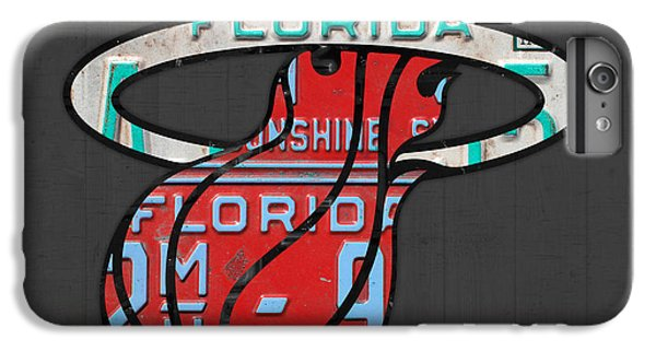 Miami Heat Basketball Team Retro Logo Vintage Recycled Florida License Plate Art IPhone 6 Plus Case by Design Turnpike