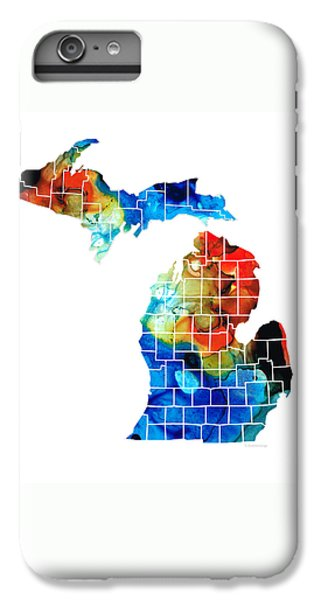 Michigan State Map - Counties By Sharon Cummings IPhone 6 Plus Case by Sharon Cummings