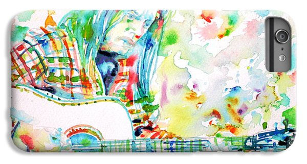 Neil Young Playing The Guitar - Watercolor Portrait.1 IPhone 6 Plus Case by Fabrizio Cassetta