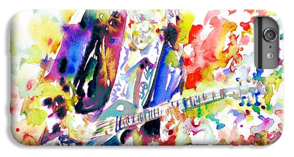 Neil Young Playing The Guitar - Watercolor Portrait.2 IPhone 6 Plus Case by Fabrizio Cassetta