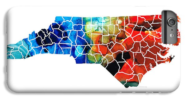 North Carolina - Colorful Wall Map By Sharon Cummings IPhone 6 Plus Case by Sharon Cummings