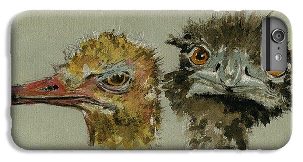 Ostrichs Head Study IPhone 6 Plus Case by Juan  Bosco