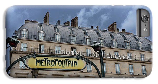 Paris Metropolitain Sign At The Paris Hotel Du Louvre Metropolitain Sign Art Noueveau Art Deco IPhone 6 Plus Case by Kathy Fornal