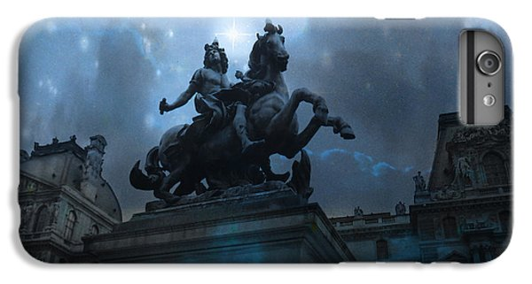 Paris Louvre Museum Blue Starry Night - King Louis Xiv Monument At Louvre Museum IPhone 6 Plus Case by Kathy Fornal