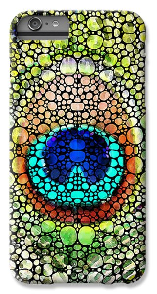 Peacock Feather - Stone Rock'd Art By Sharon Cummings IPhone 6 Plus Case by Sharon Cummings
