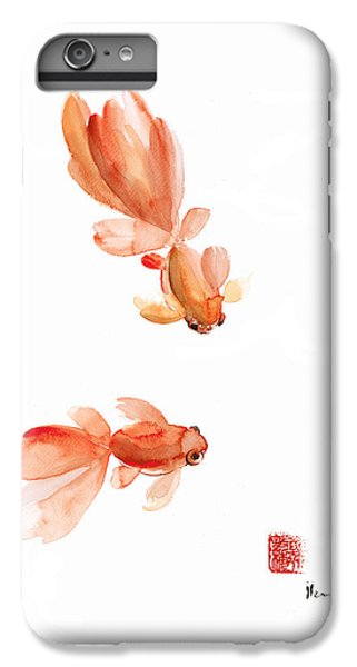 Pisces Zodiac Fishes Orange Red  Pink Fish Water Goldfish Watercolor Painting IPhone 6 Plus Case by Johana Szmerdt