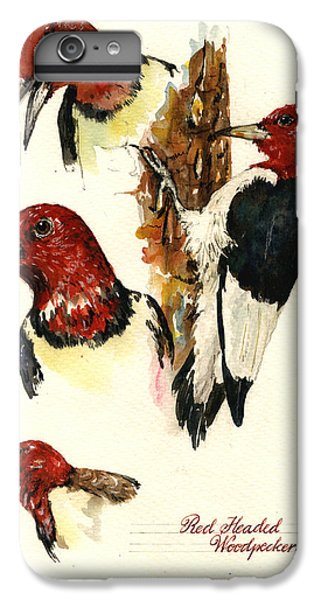 Red Headed Woodpecker Bird IPhone 6 Plus Case by Juan  Bosco
