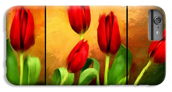 Red Tulips Triptych IPhone 6 Plus Case by Lourry Legarde