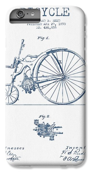 Reed Bicycle Patent Drawing From 1890 - Blue Ink IPhone 6 Plus Case by Aged Pixel