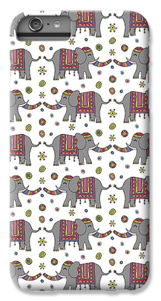 Repeat Print - Indian Elephant IPhone 6 Plus Case by Susan Claire