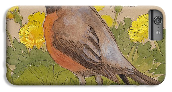Robin In The Dandelions IPhone 6 Plus Case by Tracie Thompson
