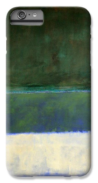 Rothko's No. 14 -- White And Greens In Blue IPhone 6 Plus Case by Cora Wandel
