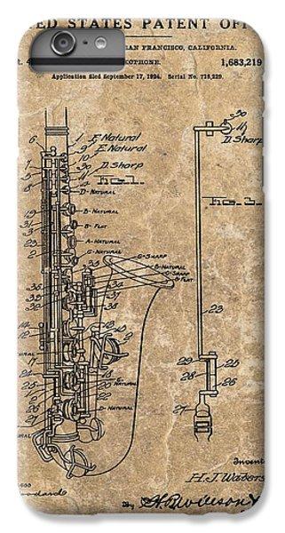 Saxophone Patent Design Illustration IPhone 6 Plus Case by Dan Sproul