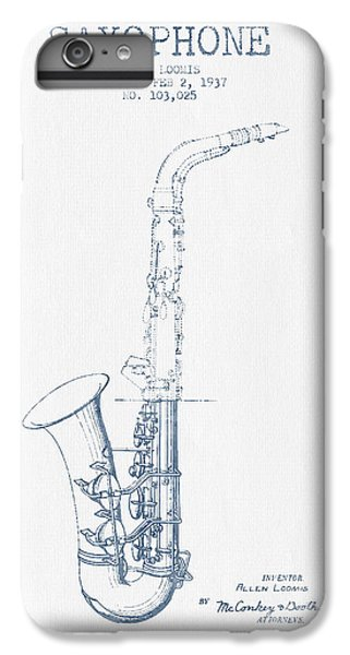 Saxophone Patent Drawing From 1937 - Blue Ink IPhone 6 Plus Case by Aged Pixel