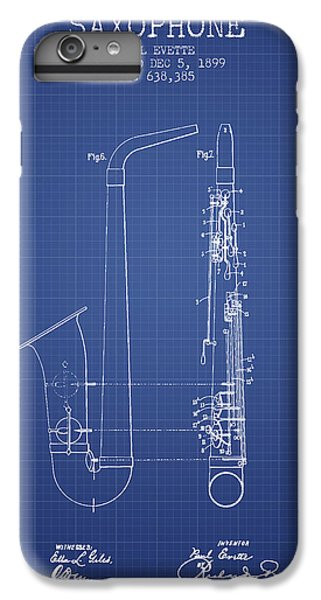 Saxophone Patent From 1899 - Blueprint IPhone 6 Plus Case by Aged Pixel