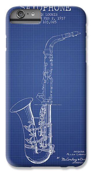 Saxophone Patent From 1937 - Blueprint IPhone 6 Plus Case by Aged Pixel