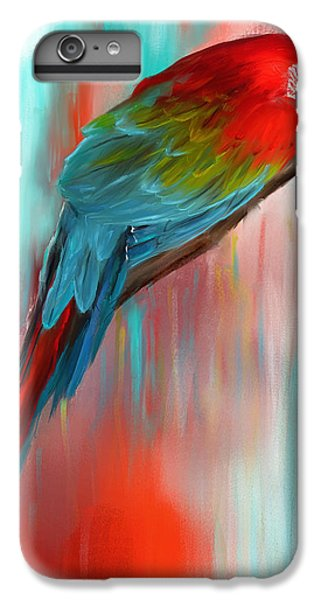 Scarlet- Red And Turquoise Art IPhone 6 Plus Case by Lourry Legarde