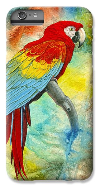 Scarlet Macaw In Abstract IPhone 6 Plus Case by Paul Krapf