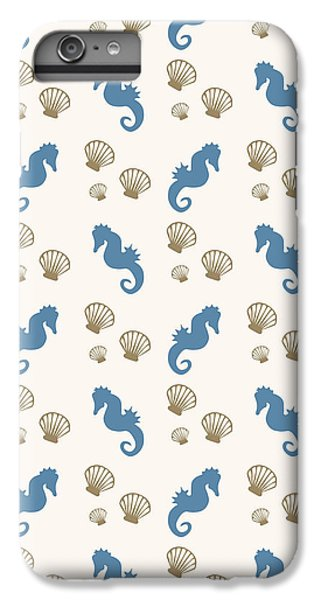Seahorse And Shells Pattern IPhone 6 Plus Case by Christina Rollo