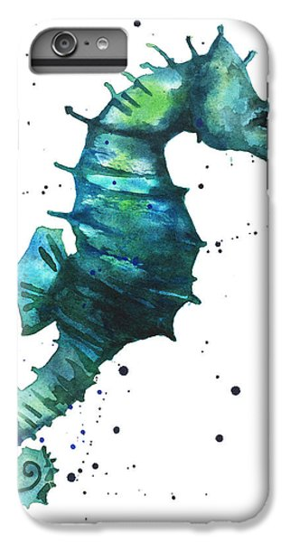 Seahorse In Teal IPhone 6 Plus Case by Alison Fennell