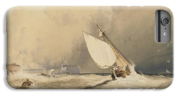 Ships At Sea Off Folkestone Harbour Storm Approaching IPhone 6 Plus Case by Anthony Vandyke Copley Fielding