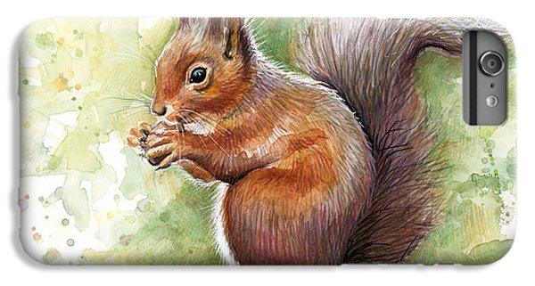 Squirrel Watercolor Art IPhone 6 Plus Case by Olga Shvartsur