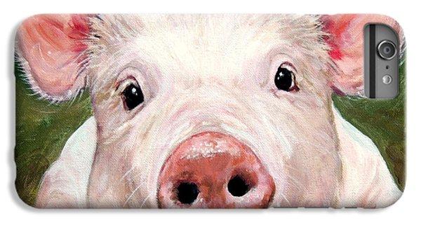 Sweet Little Piglet On Green IPhone 6 Plus Case by Dottie Dracos