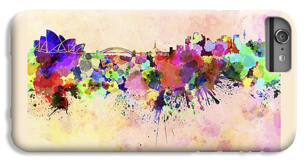 Sydney Skyline In Watercolor Background IPhone 6 Plus Case by Pablo Romero