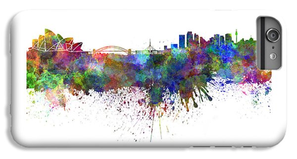 Sydney Skyline In Watercolor On White Background IPhone 6 Plus Case by Pablo Romero