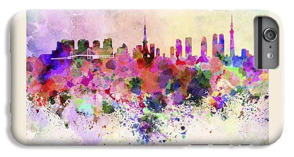 Tokyo Skyline In Watercolor Background IPhone 6 Plus Case by Pablo Romero