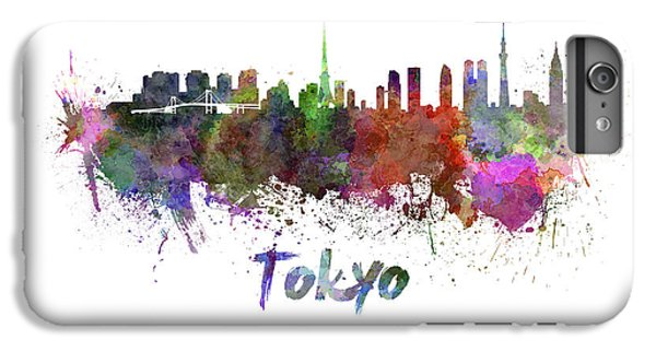 Tokyo Skyline In Watercolor IPhone 6 Plus Case by Pablo Romero