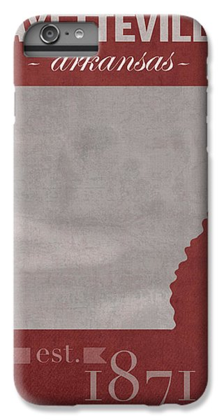 University Of Arkansas Razorbacks Fayetteville College Town State Map Poster Series No 013 IPhone 6 Plus Case by Design Turnpike