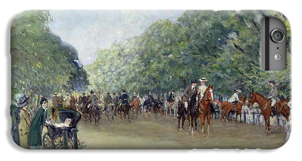 View Of Hyde Park With Figures On Rotten Row  IPhone 6 Plus Case by Albert Jnr Ludovici