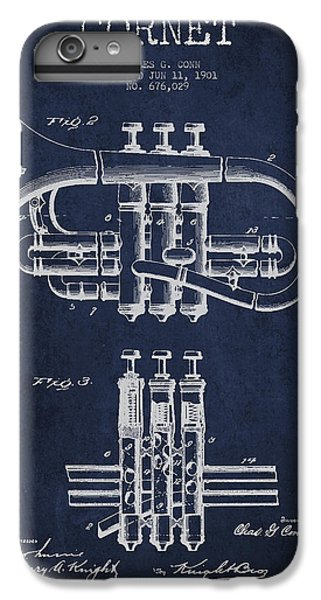 Cornet Patent Drawing From 1901 - Blue IPhone 6 Plus Case by Aged Pixel