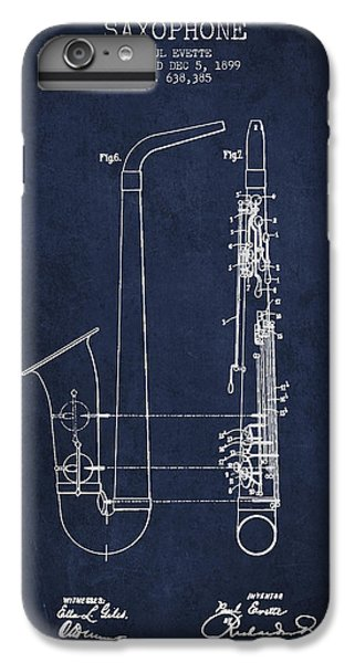 Saxophone Patent Drawing From 1899 - Blue IPhone 6 Plus Case by Aged Pixel