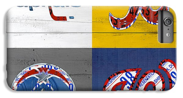 Washington Dc Sports Fan Recycled Vintage License Plate Art Capitals Redskins Wizards Nationals IPhone 6 Plus Case by Design Turnpike