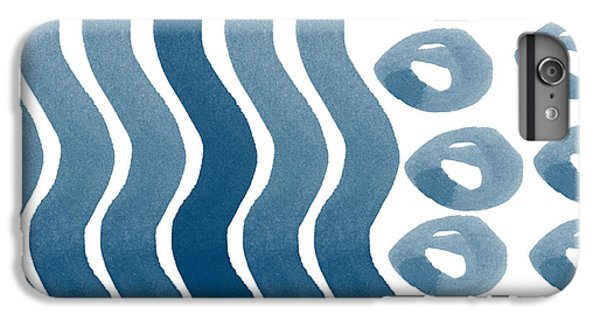 Waves And Pebbles- Abstract Watercolor In Indigo And White IPhone 6 Plus Case by Linda Woods