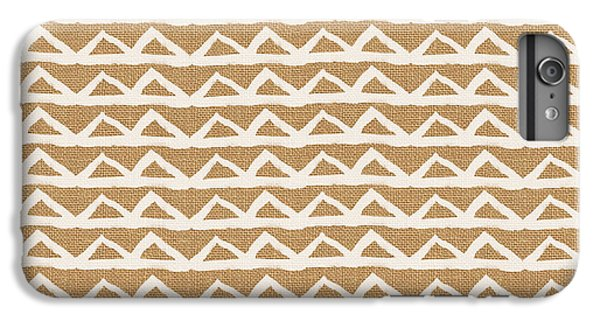 White Triangles On Burlap IPhone 6 Plus Case by Linda Woods