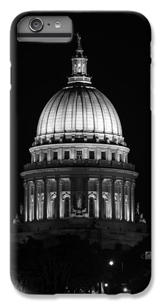 Wisconsin State Capitol Building At Night Black And White IPhone 6 Plus Case by Sebastian Musial