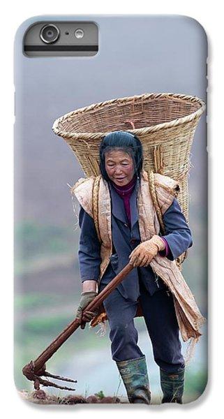 Woman Farm Worker Harvesting Potatoes IPhone 6 Plus Case by Tony Camacho