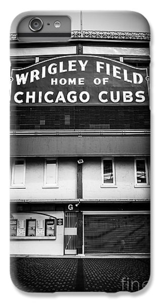 Wrigley Field Chicago Cubs Sign In Black And White IPhone 6 Plus Case by Paul Velgos