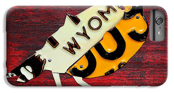 Wyoming Meadowlark Wild Bird Vintage Recycled License Plate Art IPhone 6 Plus Case by Design Turnpike