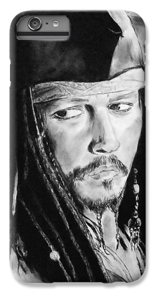 Johnny Depp As Captain Jack Sparrow In Pirates Of The Caribbean II IPhone 6 Plus Case by Jim Fitzpatrick