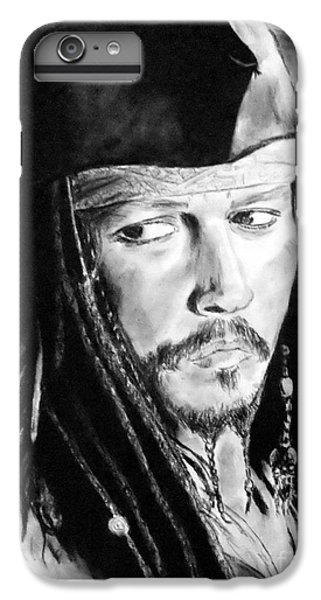 Johnny Depp As Captain Jack Sparrow In Pirates Of The Caribbean IPhone 6 Plus Case by Jim Fitzpatrick