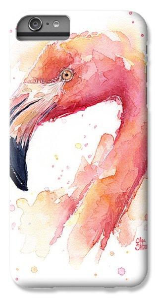 Flamingo Watercolor  IPhone 6 Plus Case by Olga Shvartsur