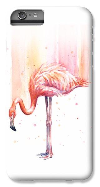 Pink Flamingo Watercolor Rain IPhone 6 Plus Case by Olga Shvartsur