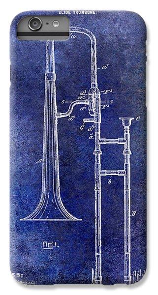 1902 Trombone Patent Blue IPhone 6 Plus Case by Jon Neidert
